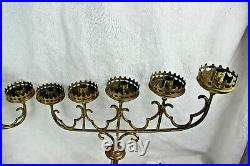 PAIR Church Altar neo gothic brass copper 5 arm candle holders religious