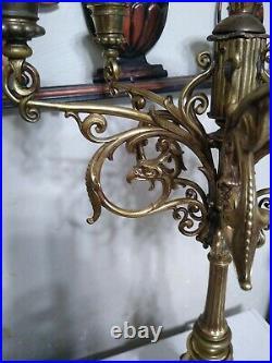 PAIR OF VINTAGE ORNATE BRASS Candle CANDELABRAS Art Nouveau Deco Solid 1800s