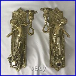 PAIR Vtg Italian Brass Cherub Putti Candlestick Candle Wall Sconce Hanging Light