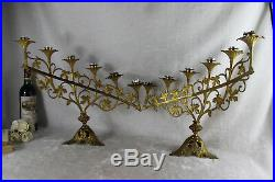 PAIR altar church candelabras candle holders 6 arms 1930 Brass floral religious