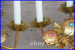 PAIR antique Church altar brass metal stones Candle holders candelabras rare