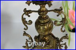 PAIR antique French bronze Brass phoenix bird dragon putti Candelabras