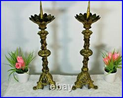 PAIR antique brass church altar candlesticks candle holder