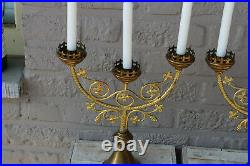 PAIR antique french neo gothic brass church altar candelabras candle holder