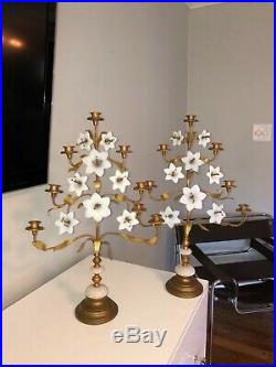 PAIR large Antique French religious church brass opaline lily flower Candelabra