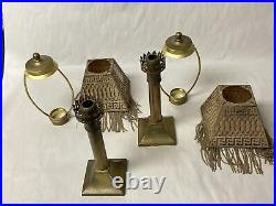 PAIR of ANTIQUE MINIATURE OIL LAMPS CANDLE HOLDERS PIERCED BRASS BEADED SHADES
