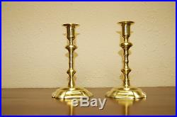 PETAL BASED BRASS CANDLESTICKS GEORGE II c 1745