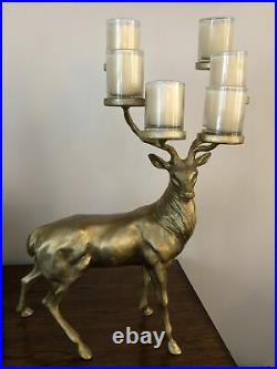 POTTERY BARN GOLD STAG VOTIVE CANDLEHOLDER BRASS REINDEER withGLASS CANDLEHOLDERS
