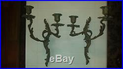Pair 19C Antique/Vintage French ROCOCO Bronze Wall Sconces Candle holders