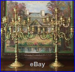Pair (2) John Baldwin USA America Solid Brass Candelabras 13 Arm Ornate