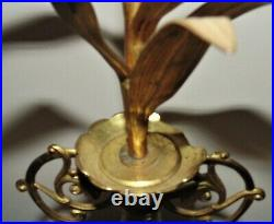 Pair 32 French Brass Mantle Garnitures with Milk Glass Lilies Flowers Floral Ur