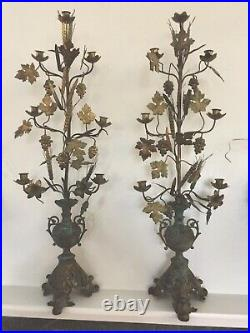 Pair 41 inch Brass Victorian Antique Candle Holders Grapes Flowers Candelabra