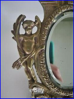 Pair Antique Brass Cherub Mirror Sconces Candle Holder Putti Neoclassical