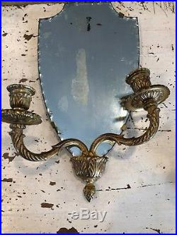 Pair Antique Brass Wall Sconce Candle Holders Distressed Beveled Mirrors Spain