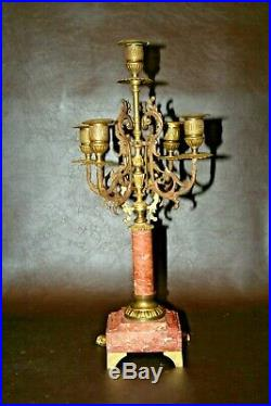 Pair Antique French 18 Tall Red Marble with Ormolu & Brass 5-Branch Candlesticks
