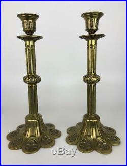Pair Antique French Brass Ormolu Gothic Notre Dame-style Candlesticks Candelabra