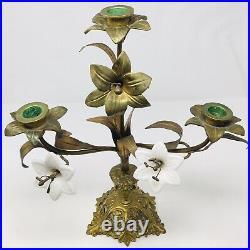 Pair Antique French Gilt Brass Church Altar Candelabras Milk Glass Floral -16H