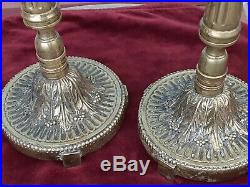 Pair Antique Heavy Brass Candelabra Church Candle Holder Fancy