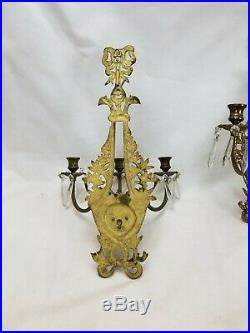 Pair Antique Large 3 Arm Brass Wall Sconce Candle Holders