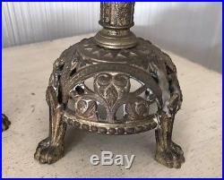 Pair Antique Ornate Brass Gothic Candlesticks Candle Holders Church Altar