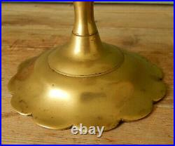 Pair Antique Seamed Brass 18th Century Candlesticks Candle Holders Petal Base