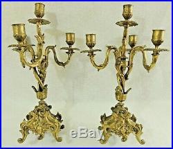 Pair Antique/Vtg 14.5 Solid Brass Ornate 4 Arm Candelabra Candle Stick Holders