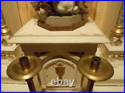 Pair Antique Vtg Large Heavy Brass Church Altar Candle Sticks Holder 1943 19