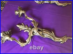 Pair Antique Wall Sconces Candleholders French Brass LOUIS XV ROCOCO 18 B625