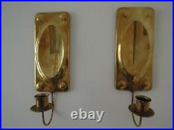 Pair Art Nouveau Swedish Brass Wall Sconce Candle Holder