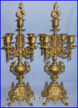 Pair Beautiful Vintage Ornate Italian Brevettato Brass Candelabra Candle Holders