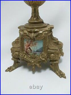 Pair Brass & Porcelain Candelabras Candle Holder 5 Arm Italian Brevettato Style