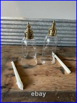Pair Brass Virginia Metalcrafters CW 2011 Colonial Ball Hurricane Candle Sconces
