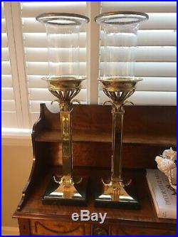 Pair CHAPMAN BRASS LAMP CO Palm Tree Hurricane Candle Holders Blown Glass 1970s