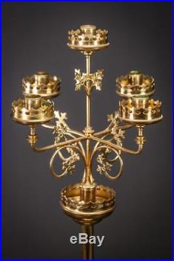 Pair Candelabra Gilt Bronze Two Candle Holder Gilded Brass Antique 5 Lights