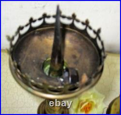 Pair Candle Holders Candlesticks Altar Twisted Stem Brass Claw Feet Neo Gothic