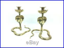 Pair Candlestick Candle Holder Antique Vintage Brass Bronze Hand Crafted Cobra