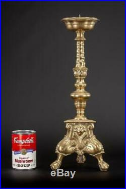 Pair Candlestick Two Baroque Candle Holders Antique Gilded Bronze Brass 17