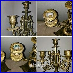 Pair Coppia Italian Brass Baroque victorian Candelabra Candle Holder approx 16H