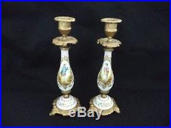 Pair Dresden style painted porcelain candleholders 9in man woman brass fittings