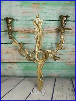 Pair French Rococo Style Solid Brass Candle Wall Sconces Hollywood Regency Gold