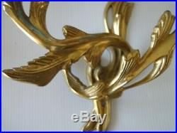 Pair French victorian style polished brass double candle holder