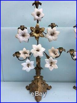 Pair Gilt Brass 5 Candle Candelabra Milk Glass Flowers, Bronze Stamins 22 1/2 T