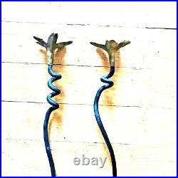 Pair Hand Forged Wrought Iron Candle Holder Stick tall onion 18 brass handmade