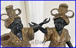 Pair Heavy Brass Blackamoor Statue Candle Holders