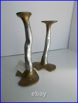 Pair Iconic David Marshall Brass and Aluminium'Puzzle' Candlesticks c. 1970