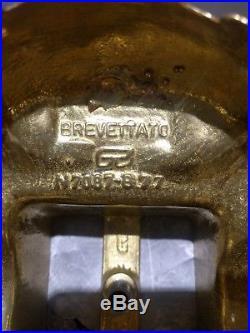 Pair Italian Louis XIV Brevettato Brass & Black Marble Candelabra candle holders