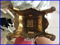 Pair Italy Baroque Brass Candelabra 5 Arm Candle Holder Large 16 1/8 Tall