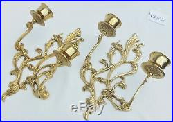 Pair Large 14 Vintage French Gold Gilt Brass Wall Sconces Candle Holders #4888