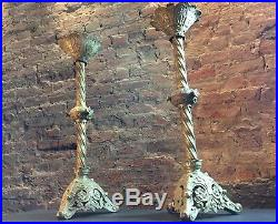 Pair Large Antique Brass Church Alter Candlesticks / Candle Holders Ecclesiastic
