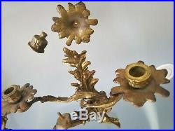 Pair Louis XV Style Brass 3 Arm Wall Sconces Candle Holders Decorator Piece
